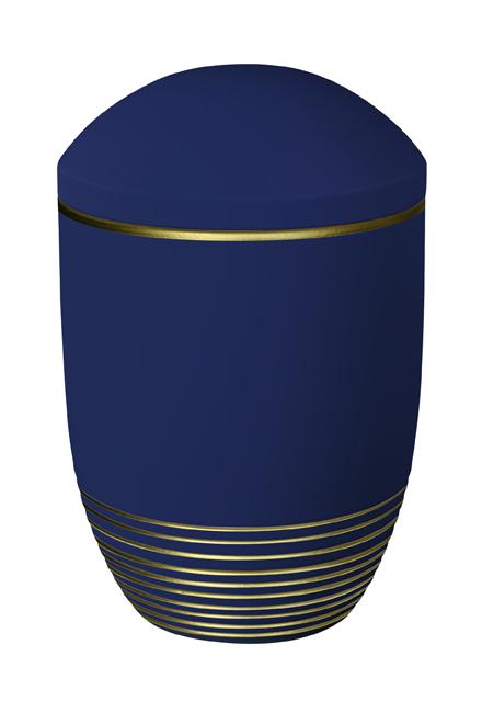 dunkelblaue Seeurne mit goldenen Streifen